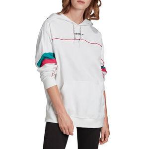 Adidas White Retro Color Block Boyfriend Hoodie